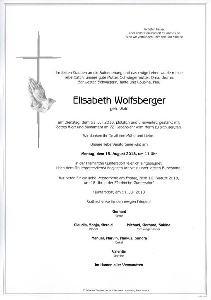 thumbnail of Parte Elisabeth Wolfsberger