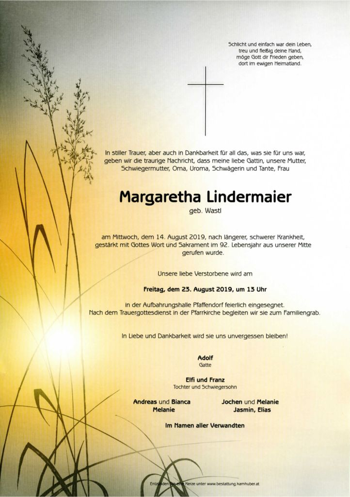 thumbnail of Parte Lindermaier Margaretha