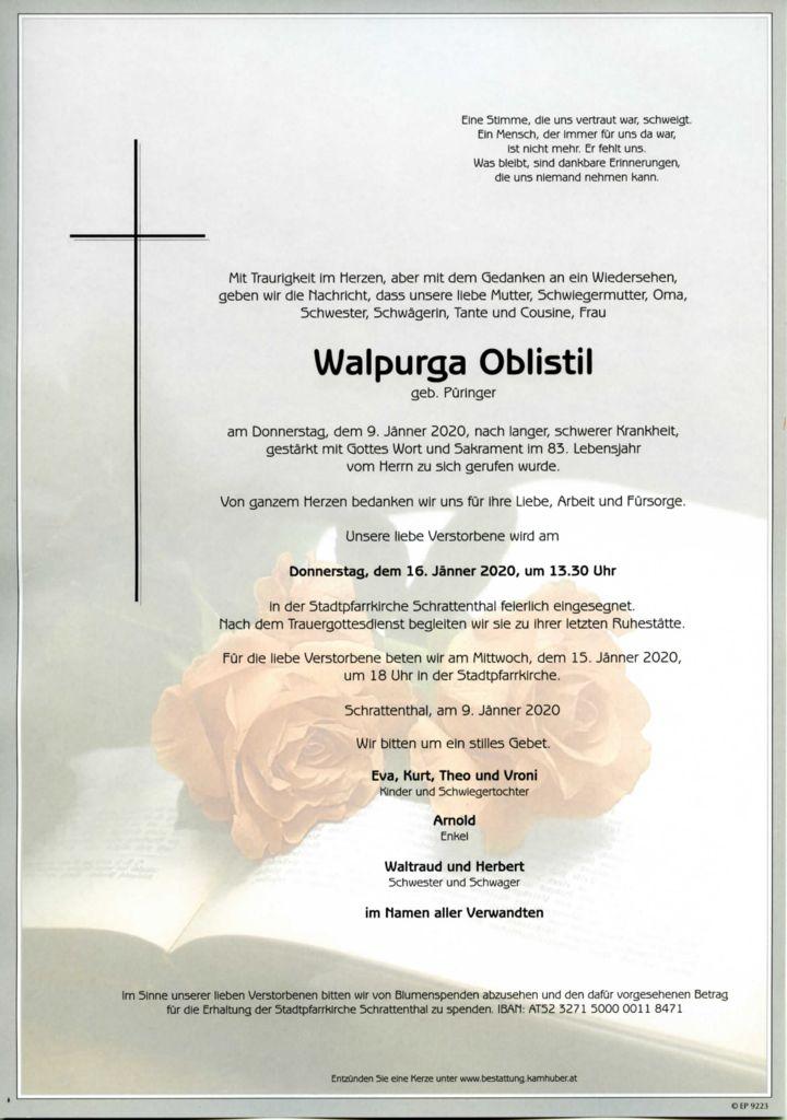 thumbnail of Parte Walpurga Oblistil